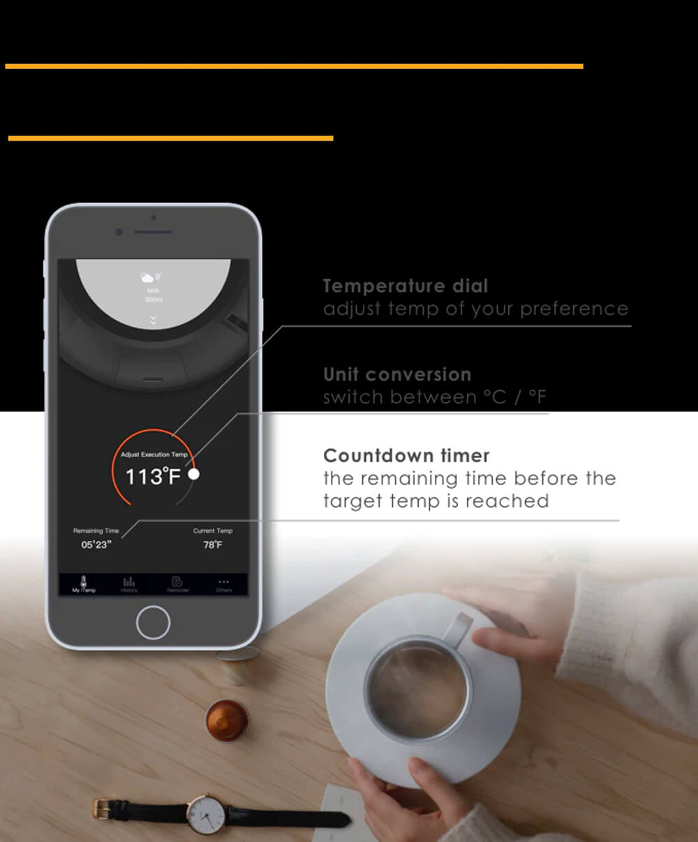 iTemp auto-adjust temperature smart mug